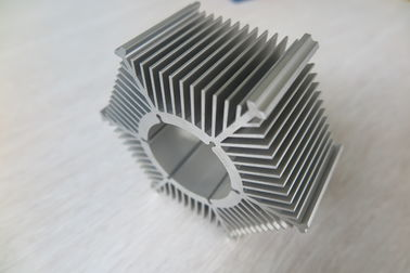 LED Round Sunflower Extruded Heat Sink Profiles Dengan Perak Anodized / Tapping